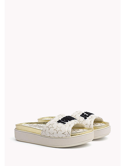 TOMMY JEANS Metallic Star Print Sliders - WHITE - TOMMY JEANS Tommy Jeans Shoes - main image