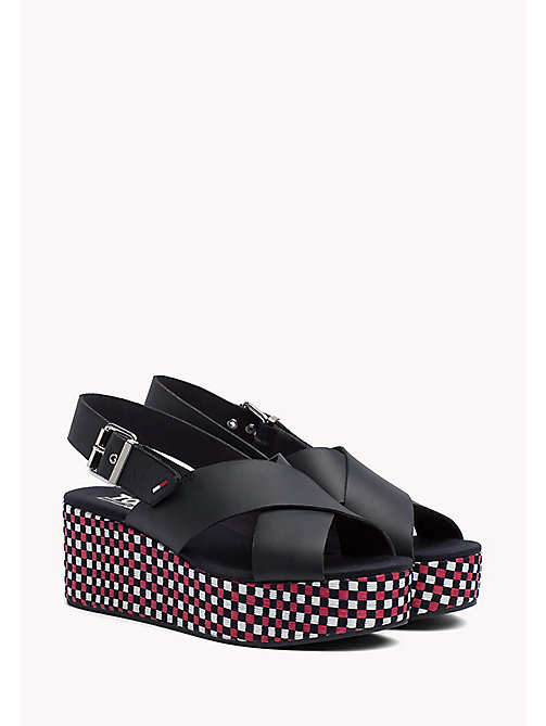 TOMMY JEANS Gingham Platform Sandals - MIDNIGHT - TOMMY JEANS VACATION FOR HER - main image