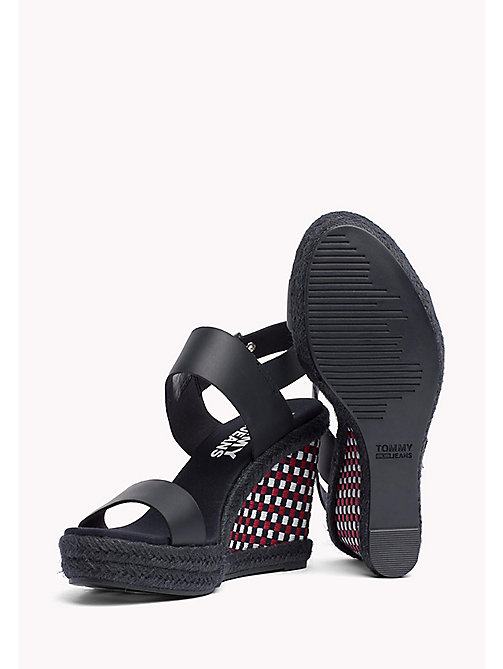 TOMMY JEANS Gingham Pattern Wedge Sandals - MIDNIGHT - TOMMY JEANS Wedges - detail image 1
