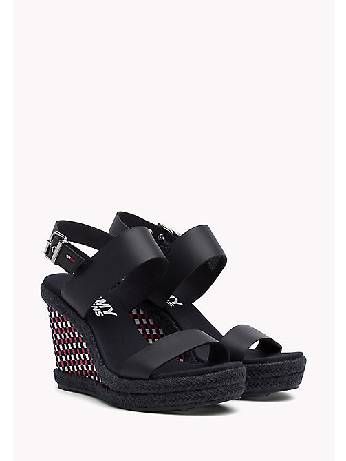 TOMMY JEANS Gingham Pattern Wedge Sandals - MIDNIGHT - TOMMY JEANS Wedges - main image