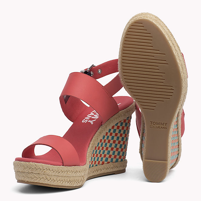 TOMMY JEANS Gingham Pattern Wedge Sandals - MIDNIGHT - TOMMY JEANS SHOES - detail image 1