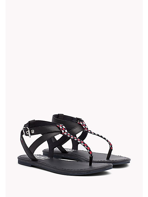 TOMMY JEANS Flat Leather Gingham Sandals - MIDNIGHT - TOMMY JEANS Tommy Jeans Shoes - main image