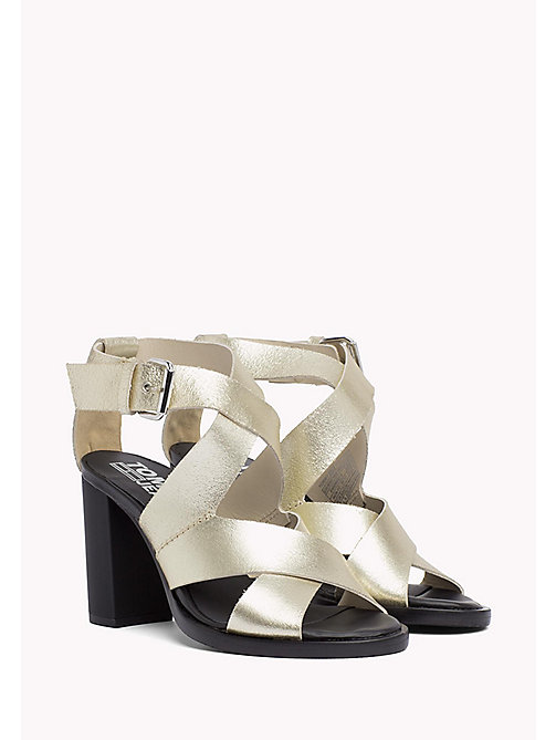 TOMMY JEANS Metallic Heeled Sandals - LIGHT GOLD - TOMMY JEANS Shoes - main image