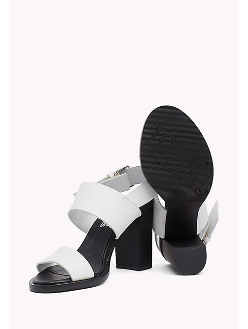 TOMMY JEANS Heeled Leather Sandals - OFF WHITE - TOMMY JEANS Shoes - detail image 1