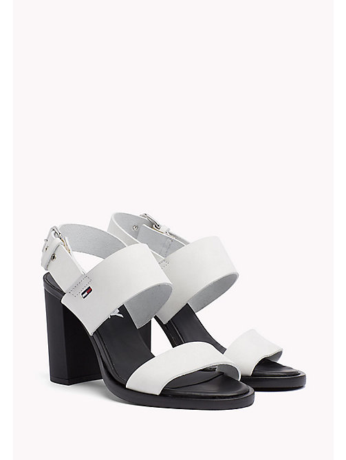 Heeled Leather Sandals - OFF WHITE - TOMMY JEANS SHOES - main image