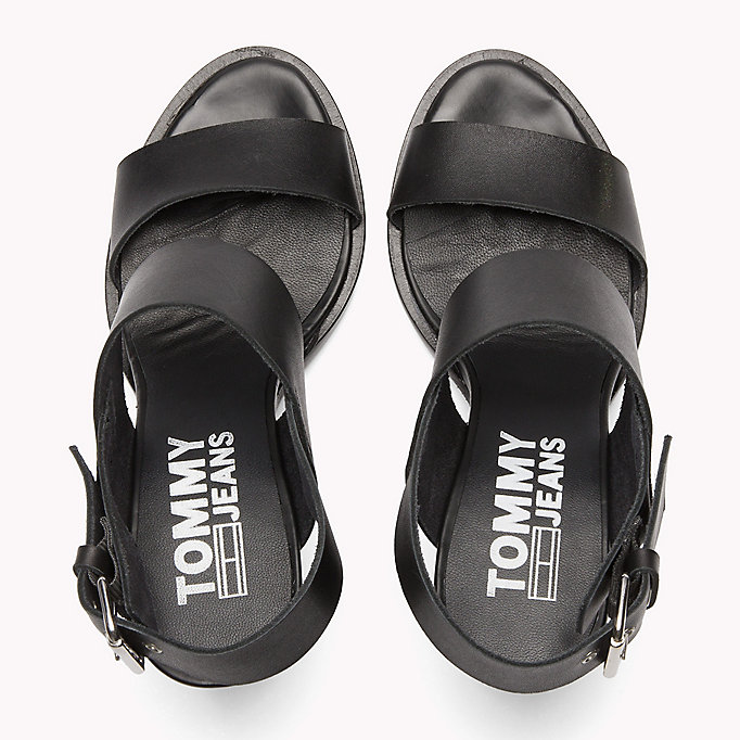 TOMMY JEANS Heeled Leather Sandals - OFF WHITE - TOMMY JEANS SHOES - detail image 3