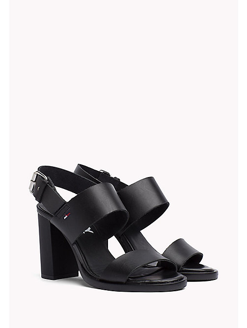 TOMMY JEANS Heeled Leather Sandals - BLACK - TOMMY JEANS Tommy Jeans Shoes - main image