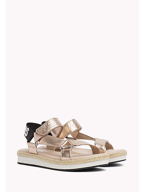 TOMMY JEANS Metallic Logo Sandals - ROSE GOLD - TOMMY JEANS Tommy Jeans Shoes - main image