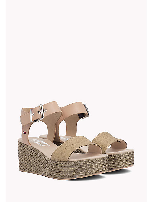 TOMMY JEANS Denim Flatform Sandals - NUDE - TOMMY JEANS VACATION FOR HER - main image
