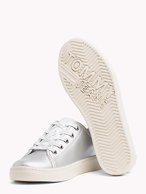 TOMMY JEANS Lightweight Leather Logo Lace Trainers - SILVER - TOMMY JEANS Shoes & Accessories - detail image 1