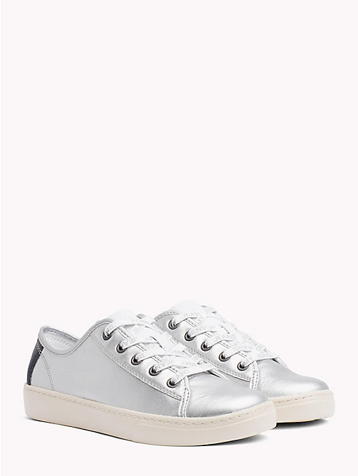 TOMMY JEANS Lightweight Leather Logo Lace Trainers - SILVER - TOMMY JEANS NEW IN - main image