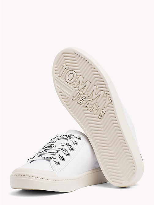 TOMMY JEANS Lightweight Leather Logo Lace Trainers - WHITE - TOMMY JEANS Shoes & Accessories - detail image 1