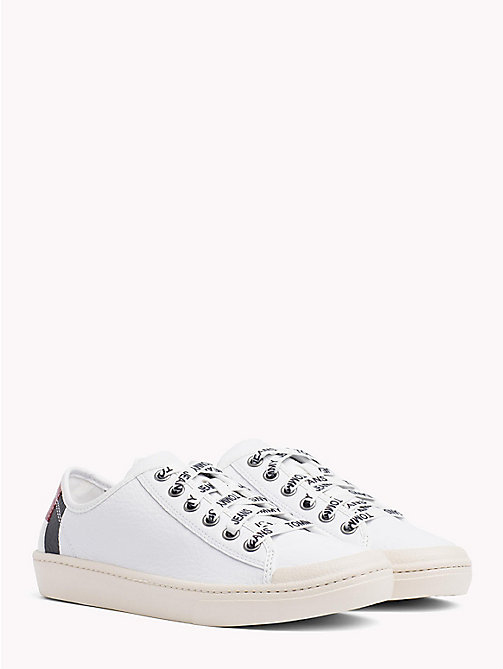 TOMMY JEANS Lightweight Leather Logo Lace Trainers - WHITE - TOMMY JEANS NEW IN - main image