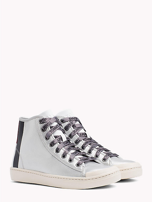 TOMMY JEANS Lightweight Metallic Leather Logo Lace Trainers - SILVER - TOMMY JEANS NEW IN - main image