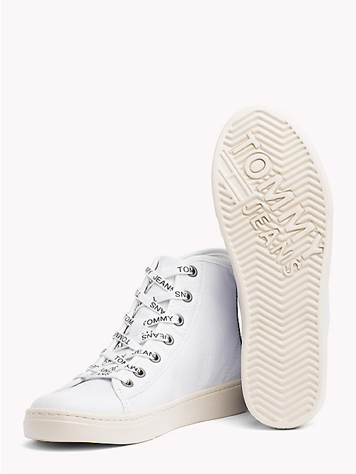 TOMMY JEANS Lightweight Metallic Leather Logo Lace Trainers - WHITE - TOMMY JEANS Shoes & Accessories - detail image 1