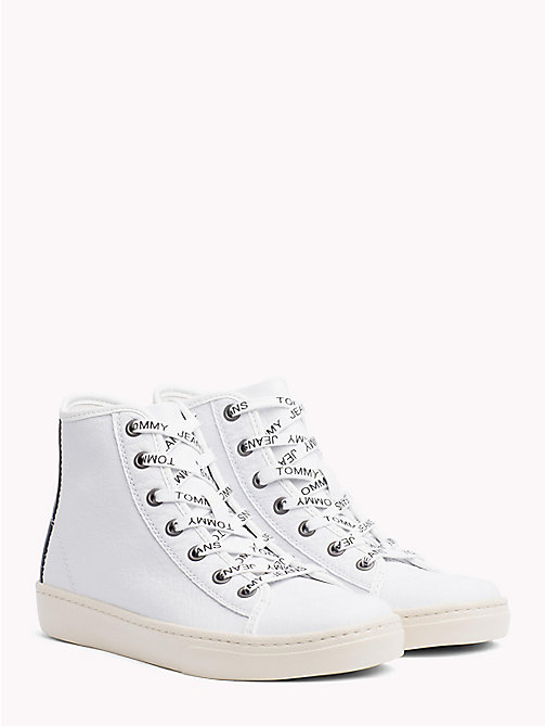 TOMMY JEANS Lightweight Metallic Leather Logo Lace Trainers - WHITE - TOMMY JEANS NEW IN - main image