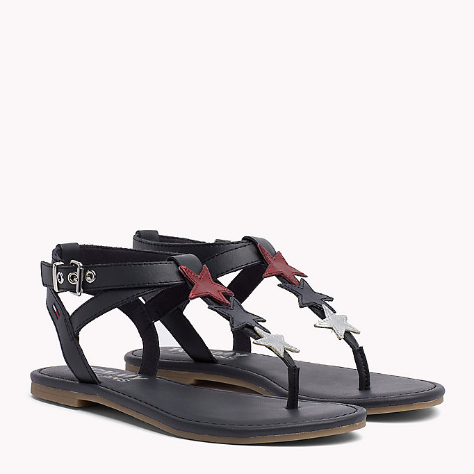 TOMMY JEANS Leather Star Sandals - WHISPER WHITE - TOMMY JEANS SHOES - main image
