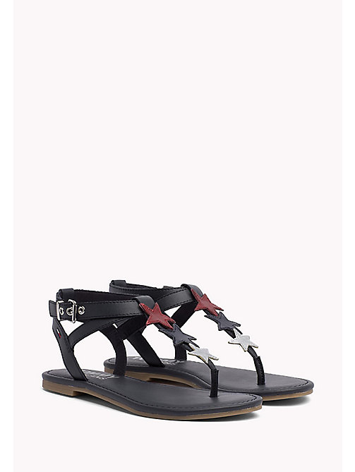 TOMMY JEANS Leather Star Sandals - MIDNIGHT - TOMMY JEANS VACATION FOR HER - main image