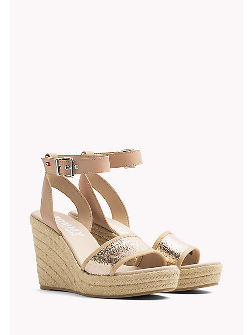 TOMMY JEANS Metallic Wedge Sandals - ROSE GOLD - TOMMY JEANS Wedges - main image