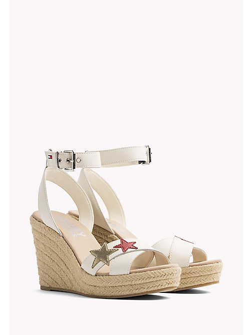 TOMMY JEANS Star Badge Wedge Sandals - WHISPER WHITE - TOMMY JEANS VACATION FOR HER - main image
