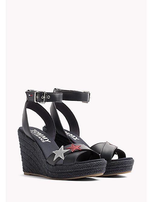 TOMMY JEANS Star Badge Wedge Sandals - MIDNIGHT - TOMMY JEANS Wedges - main image