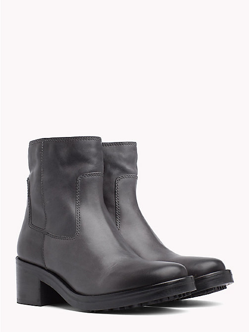 TOMMY JEANS Leather Biker Boots - STEEL GREY - TOMMY JEANS Shoes & Accessories - main image