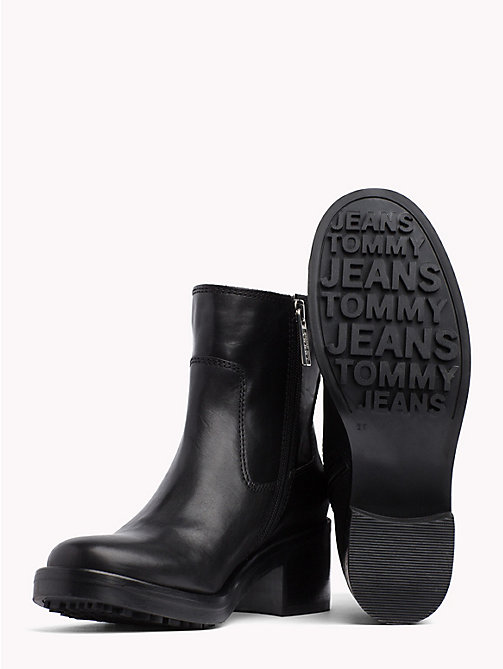 TOMMY JEANS ESSENTIAL LEATHER BIKER BOOT - BLACK - TOMMY JEANS Shoes & Accessories - detail image 1