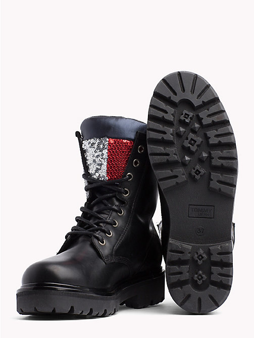 TOMMY JEANS Sparkle Flag Lace-Up Boots - BLACK - TOMMY JEANS Shoes - detail image 1