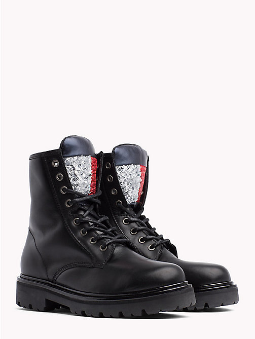 TOMMY JEANS BIG FLAG SPARKLE LACE UP BOOT - BLACK - TOMMY JEANS Shoes & Accessories - main image