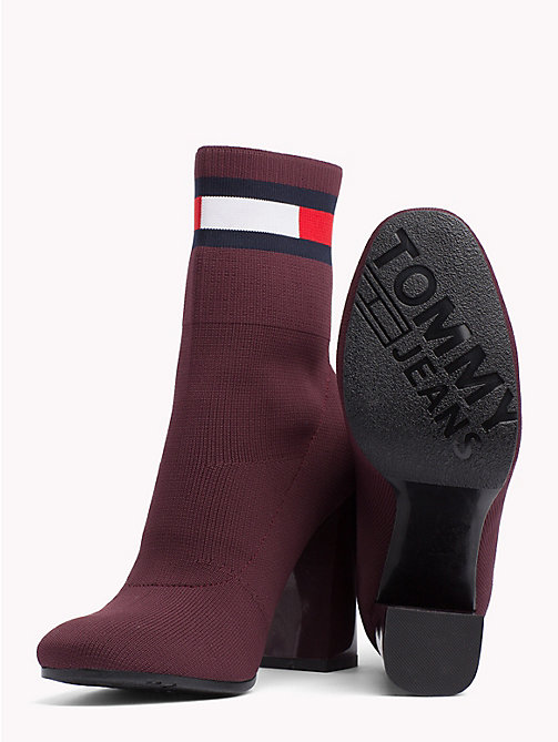 TOMMY JEANS Flag Heeled Sock Boots - BURGUNDY - TOMMY JEANS VACATION - detail image 1