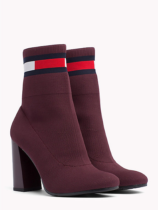 TOMMY JEANS Flag Heeled Sock Boots - BURGUNDY - TOMMY JEANS VACATION - main image