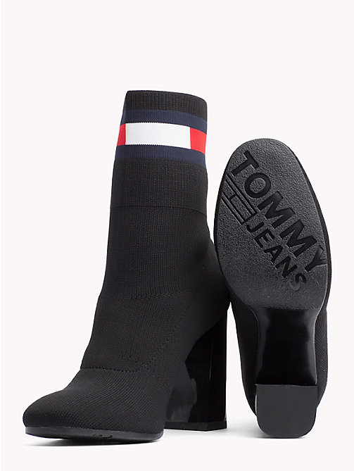 TOMMY JEANS Flag Heeled Sock Boots - BLACK - TOMMY JEANS Shoes & Accessories - detail image 1
