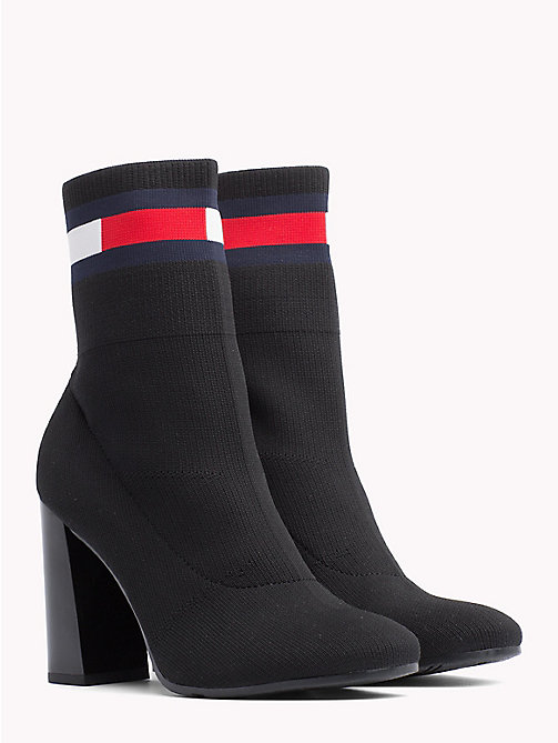 TOMMY JEANS Flag Heeled Sock Boots - BLACK - TOMMY JEANS VACATION - main image