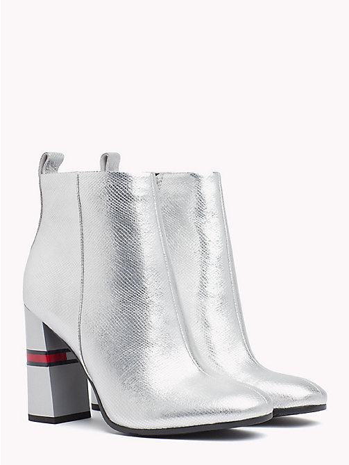 TOMMY JEANS Metallic Colour-Blocked Heel Boots - SILVER - TOMMY JEANS VACATION - main image