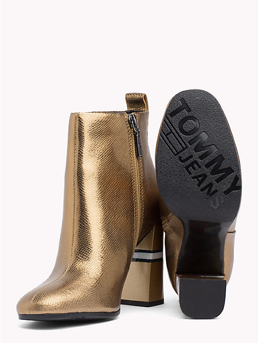 TOMMY JEANS Metallic Colour-Blocked Heel Boots - GOLD - TOMMY JEANS VACATION - detail image 1