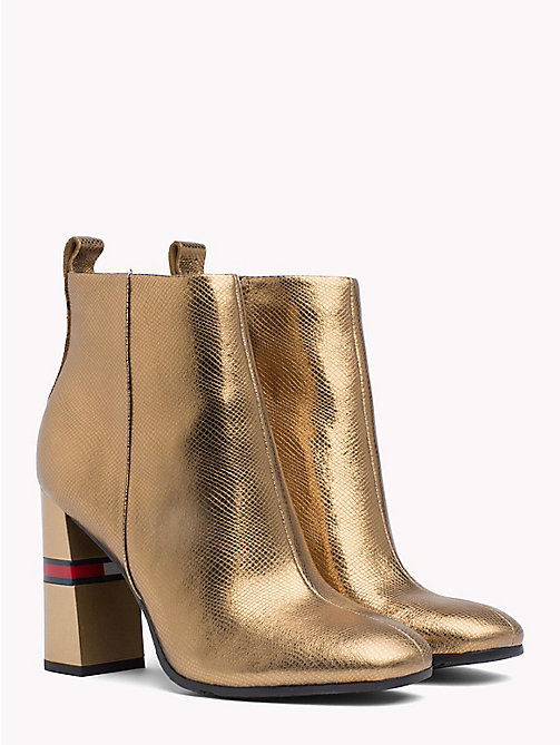 TOMMY JEANS Metallic Colour-Blocked Heel Boots - GOLD - TOMMY JEANS Shoes & Accessories - main image