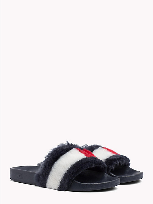 TOMMY JEANS Furry Pool Slides - MIDNIGHT - TOMMY JEANS Shoes & Accessories - main image