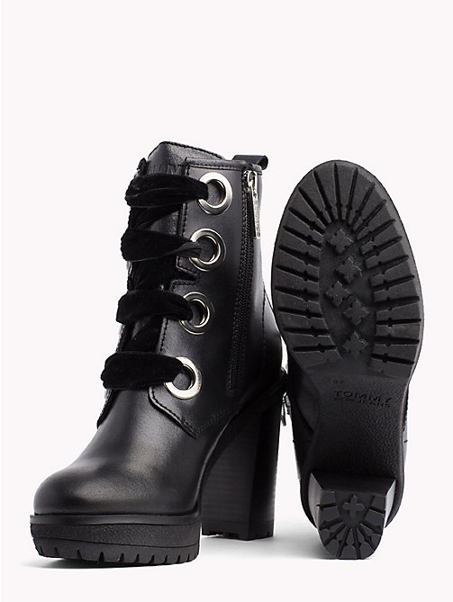 TOMMY JEANS METALLIC LACE UP HEELED BOOT - BLACK - TOMMY JEANS Shoes & Accessories - detail image 1