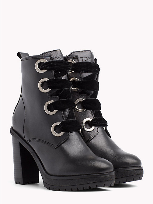 TOMMY JEANS METALLIC LACE UP HEELED BOOT - BLACK - TOMMY JEANS Shoes & Accessories - main image
