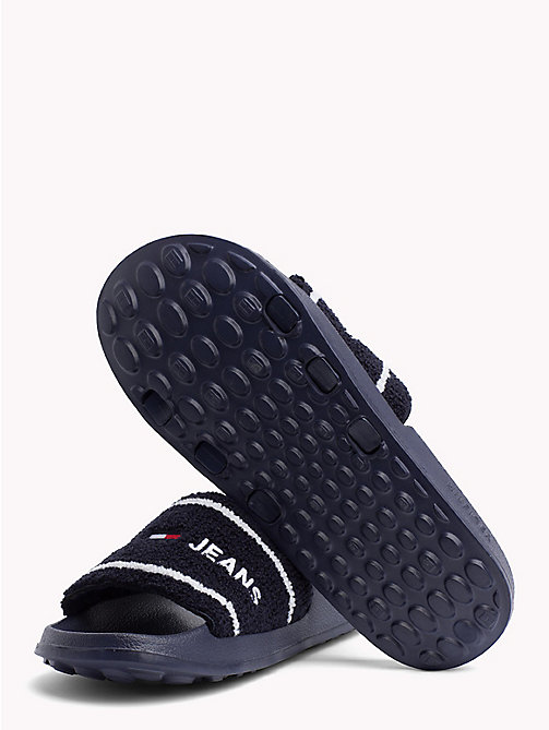 TOMMY JEANS Embroidered Terry Beach Sliders - BLACK IRIS - TOMMY JEANS VACATION FOR HER - detail image 1