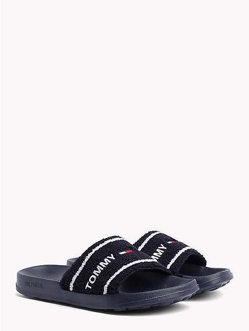 TOMMY JEANS Embroidered Terry Beach Sliders - BLACK IRIS - TOMMY JEANS VACATION FOR HER - main image