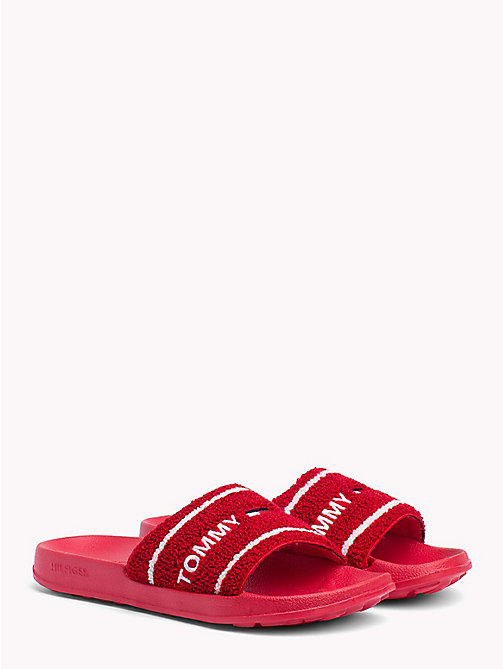TOMMY JEANS Embroidered Terry Beach Sliders - TOMMY RED - TOMMY JEANS Festivals Season - main image