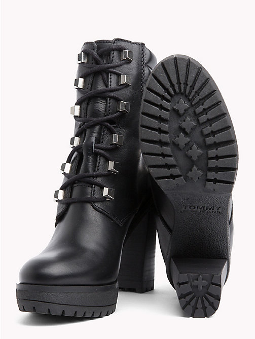 TOMMY JEANS Stud Lace-Up Heeled Boots - BLACK - TOMMY JEANS VACATION - detail image 1