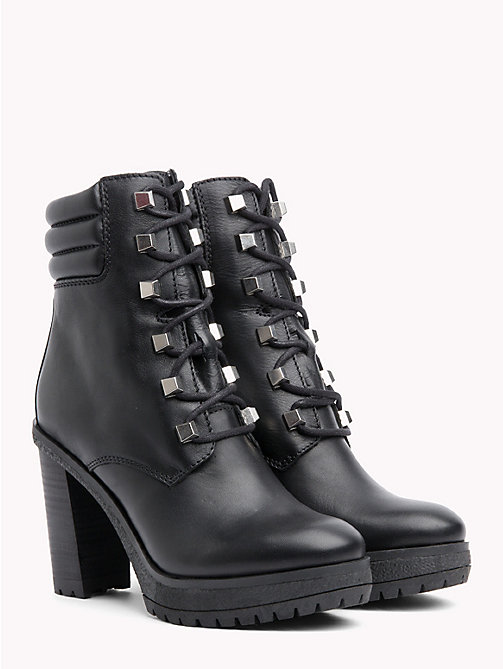 TOMMY JEANS Stud Lace-Up Heeled Boots - BLACK - TOMMY JEANS VACATION - main image