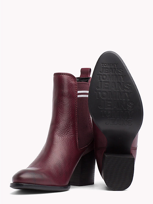 TOMMY JEANS Stripe High Heel Chelsea Boots - DECADENT CHOCOLATE - TOMMY JEANS Shoes & Accessories - detail image 1
