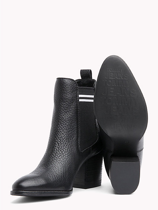 TOMMY JEANS Stripe High Heel Chelsea Boots - BLACK - TOMMY JEANS Shoes & Accessories - detail image 1