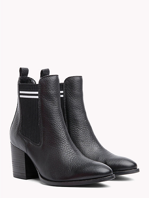 TOMMY JEANS Stripe High Heel Chelsea Boots - BLACK - TOMMY JEANS Shoes & Accessories - main image