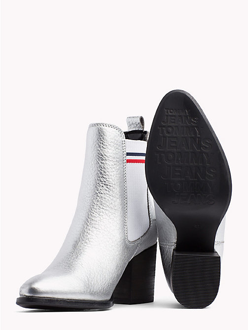 TOMMY JEANS Metallic Mid Heel Chelsea Boots - SILVER - TOMMY JEANS Shoes & Accessories - detail image 1