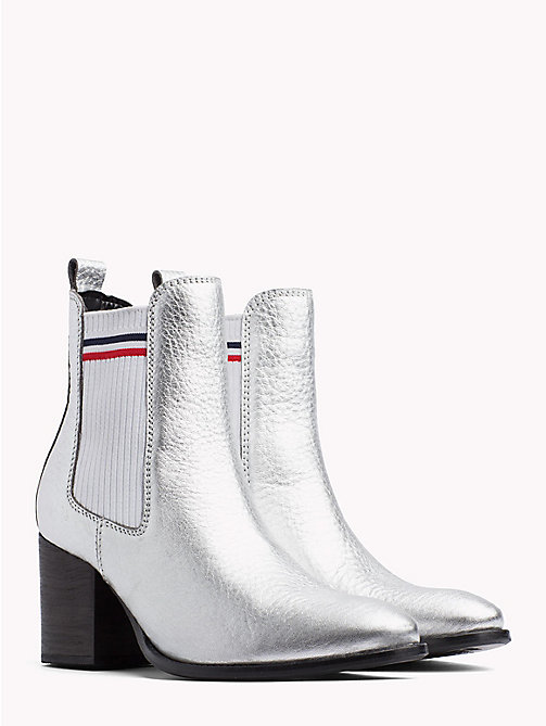 TOMMY JEANS Metallic Mid Heel Chelsea Boots - SILVER - TOMMY JEANS Shoes & Accessories - main image