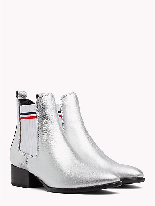 TOMMY JEANS Metallic Low Heel Chelsea Boots - SILVER - TOMMY JEANS Shoes & Accessories - main image